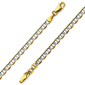 4.5mm 14K Yellow Gold White Pave Flat Mariner Chain Bracelet