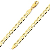 5.5mm 14K Yellow Gold Men's Flat Mariner Chain Bracelet 7.5in
