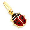 Red & Black Ladybug Charm Pendant in 14K Yellow Gold - Petite