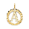 Circling Ivy Initial Pendant Charm in 14K Yellow Gold - Small
