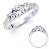 Three Stone 14K White Gold Diamond Engagement Ring 0.80 ctw