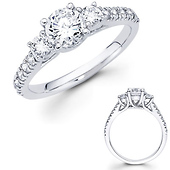 3 Stone 14K White Gold Diamond Engagement Ring 0.60ctw