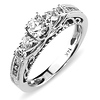 Intricate 14K White Gold Diamond Engagement Ring