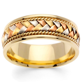 1e436e65c92b4 8.5mm Handmade Rope & Tricolor Braided Men's Wedding Band - 14K Yellow Gold