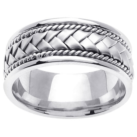8.5mm Handmade Rope & Flat Woven Men's Wedding Band - 14K White Gold