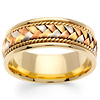 8.5mm Handmade Rope & Tricolor Braided Men's Wedding Band - 14K Yellow Gold