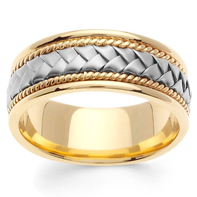 8.5mm Handmade Cord & White Woven Men's Wedding Band - 14K Two-Tone Gold