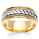 8.5mm Handmade Cord & White Woven Men's Wedding Band - 14K Two-Tone Gold thumb 0
