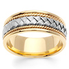 8.5mm 14K Two Tone Gold Handmade Woven Wedding Band