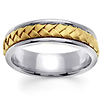 7mm Modern Handmade Woven Wedding Band for Men in 14K Two Tone Gold