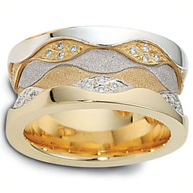 11.5mm 0.48 tcw Diamond 14K Two Tone Gold Dora Wedding Band