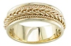 7mm Woven Cord Raised Braided Men's Wedding Band - 14K Yellow Gold