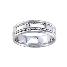 7mm Hand-Woven Double Rope Braided Wedding Band for Men - 14K White Gold