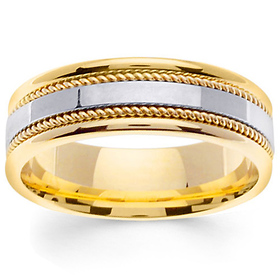 7mm White Inlay Handmade Rope Men's Wedding Band - 14K Two-Tone Gold