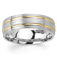 6 5mm Double Channel 14k Two Tone Gold Men S Wedding Band