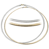 3mm Reversible Omega Necklace in 14K Two-Tone Gold - Women