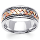 8.5mm Handmade Rope & Tricolor Braided Men's Wedding Band - 14K White Gold thumb 0