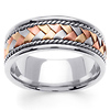 8.5mm Handmade Rope & Tricolor Braided Men's Wedding Band - 14K White Gold