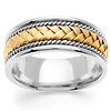 8.5mm Handmade 14K Two Tone Gold Woven Men's Wedding Ring