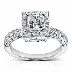 Vintage Style Halo Princess-Cut Diamond Engagement Ring 1ct TW - 14K White Gold