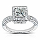 Vintage Style Halo Princess-Cut Diamond Engagement Ring 1ct TW - 14K White Gold thumb 0
