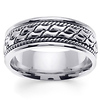 8mm Cobblestone Patterned Rope Designer 14K White Gold Men's Ring
