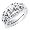 Intricate 14K White Gold Diamond Engagement Ring Set 1.00ctw