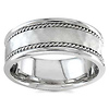 7.5mm Handmade Double Rope 14K White Gold Braided Ring Band