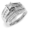 Avant-Garde 14K White Gold Princess-Cut Diamond Engagement Ring Set 1ctw