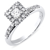 14K White Gold Round Halo & Princess Cut Bridal Diamond Engagement Ring 0.50ctw