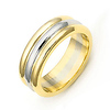 6.5mm Three-Row 14K Two Tone Gold Wedding Band - SIZE 10 ONLY