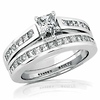 14K White Gold Princess Cut Diamond Wedding Ring Set 1.33ctw