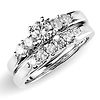 14K White Gold Prong Diamond Engagement Ring Set 0.75ctw