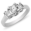 Contemporary 14K White Gold 3 Stone Engagement Ring