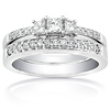 14K White Gold 3 Stone Princess Cut Bridal Ring Set