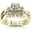 14K Yellow Gold 3 Stone Princess Cut  Wedding Ring Set