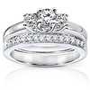 3 Stone 14K White Gold Diamond Bridal Ring Set