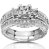 Engraved Art Deco Style 3 Stone Princess Cut Diamond Wedding Band Set - 14K White Gold