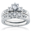 Regal 14K White Gold 3 Stone Diamond Bridal Ring Set
