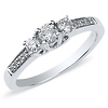 14K White Gold 3 Stone Prong Set Engagement Ring