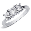 14K White Gold 3 Stone Princess Cut Bridal Engagement Ring 1.0ctw