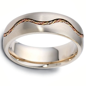 65032b4a2d2be Dora Rings - 7mm Waving Rope Braided Wedding Band in 14K Tricolor Gold
