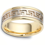 8mm Greek Key 18k Two Tone Gold Wedding Band