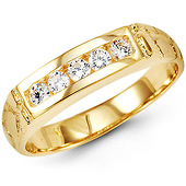 14K Yellow Gold Men's CZ Nugget Ring Band 4mm