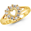 Round CZ 14K Yellow Gold Heart Ring