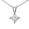 14K White Gold 0.40ct Princess Cut 4 Prong Solitaire Pendant