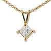 14K Yellow Gold 0.40ct Princess Cut 4 Prong Solitaire Pendant