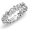14K White Gold Eternity Floral Diamond Ring 0.20ctw