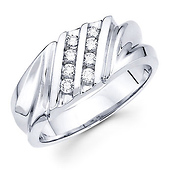 14K White Gold Round Diamond Channel Set Men's Ring