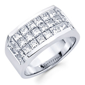 14K White Gold 4.20ctw Invisible Set Princess Cut Men's Ring